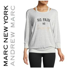 Marc NY Cut Out 3/4 Sleeve Jersey Cotton Tee Top